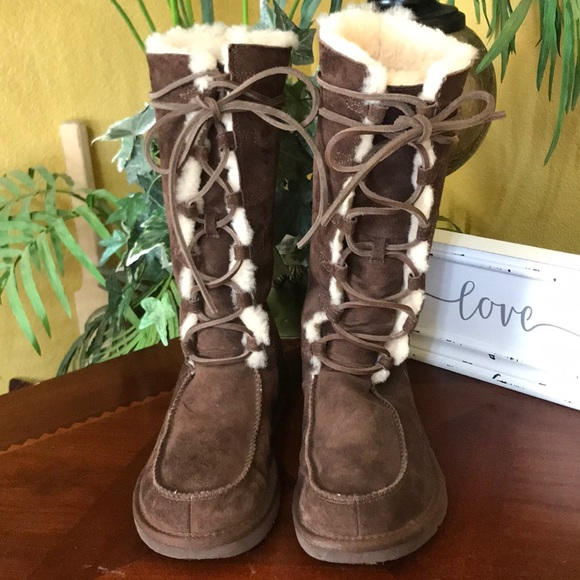 2bb455ccd42 UGG Brown Uptown Lace Up Tall Boots